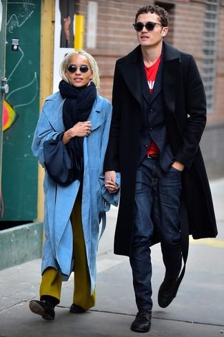 How to wear: black overcoat, navy wool blazer, red print crew-neck t-shirt, navy jeans