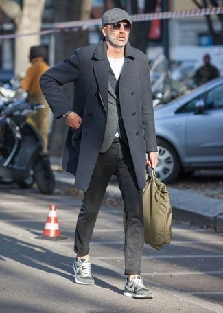 How to Wear an Olive Canvas Tote Bag For Men: Wear a charcoal overcoat with an olive canvas tote bag to pull together an interesting and current casual street style ensemble. You can get a bit experimental when it comes to footwear and dial down this look with grey athletic shoes.