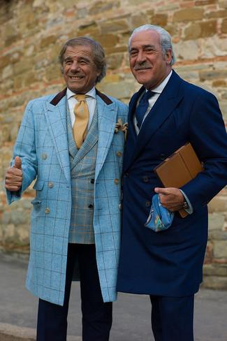 How to wear: aquamarine plaid overcoat, aquamarine plaid blazer, navy dress pants, tan tie