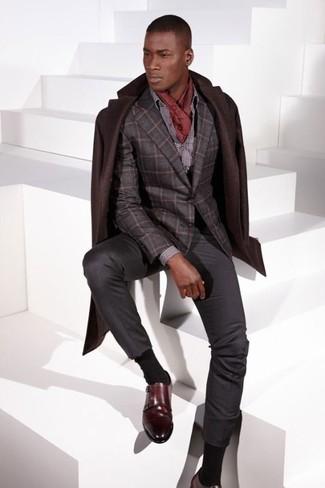 How to wear: dark brown overcoat, charcoal check wool blazer, grey polka dot dress shirt, charcoal dress pants