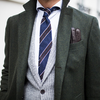 How to wear: dark green overcoat, grey vertical striped blazer, white dress shirt, navy horizontal striped tie