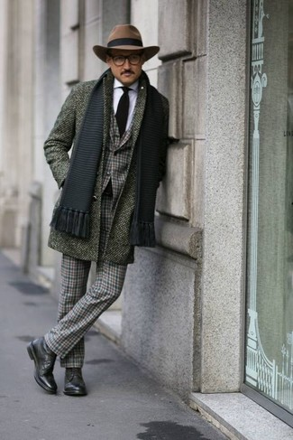 How to wear: olive overcoat, dark green plaid blazer, white dress shirt, dark green plaid dress pants