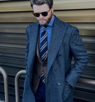 How to wear: navy overcoat, dark brown wool blazer, blue chambray dress shirt, navy dress pants
