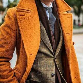 How to wear: orange overcoat, olive check wool blazer, light blue dress shirt, black and white polka dot tie