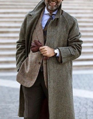How to wear: grey herringbone overcoat, brown plaid wool blazer, white dress shirt, dark brown wool dress pants
