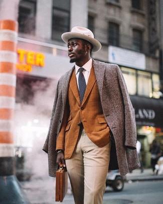 How to wear: grey herringbone overcoat, tobacco check blazer, white dress shirt, beige dress pants