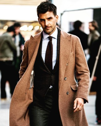 How to wear: camel overcoat, dark brown blazer, white dress shirt, charcoal dress pants