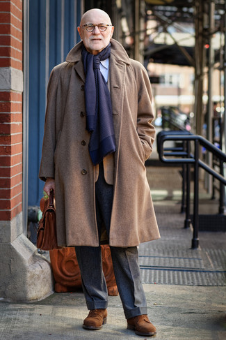 How to wear: brown overcoat, tobacco check blazer, light blue vertical striped dress shirt, charcoal wool dress pants