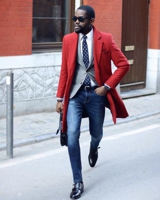 How to wear: red overcoat, grey blazer, white dress shirt, blue skinny jeans