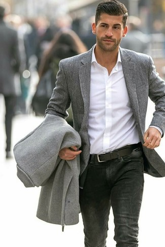 How to wear: grey overcoat, grey wool blazer, white dress shirt, black jeans