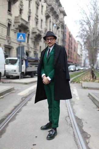 How to wear: black overcoat, dark green plaid blazer, white dress shirt, dark green plaid dress pants