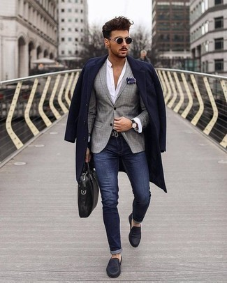 How to Wear a Black Leather Watch In Cold Weather For Men: This combination of a navy overcoat and a black leather watch has a easy-going and approachable kind of vibe. For something more on the dressier side to finish off this look, add navy leather loafers to the mix.