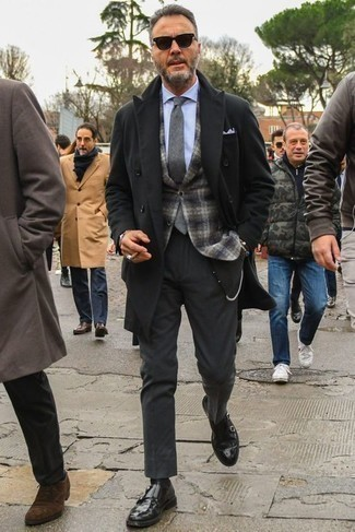 How to Wear Black Socks In a Dressy Way For Men: If you prefer laid-back style, why not wear this combination of a black overcoat and black socks? Hesitant about how to complement your ensemble? Round off with a pair of black leather double monks to class it up.