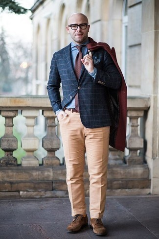 How to Wear a Navy Check Blazer For Men: For a look that's absolutely Bond-worthy, choose a navy check blazer and khaki dress pants. Brown suede brogues are a fitting option here.