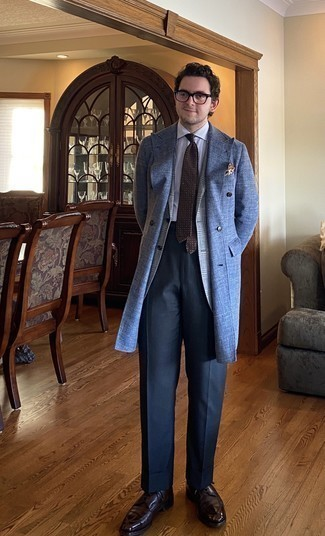 Blue Overcoat Outfits: Such must-haves as a blue overcoat and navy jeans are the ideal way to inject an air of rugged sophistication into your current casual arsenal. And if you want to immediately rev up this getup with one piece, introduce dark brown leather derby shoes to the equation.