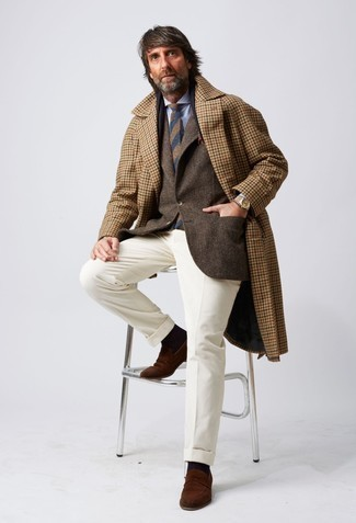 Dark Brown Socks Winter Outfits For Men: For a surefire casual option, you can't go wrong with this combination of a camel gingham overcoat and dark brown socks. Put a more sophisticated spin on an otherwise all-too-common look by finishing off with brown suede loafers. While it can be a bit of a conundrum to stay fashionable on extra cold days, it's combinations like this that prove it's actually possible.