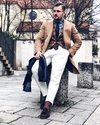 Camel Overcoat Outfits: A camel overcoat and white chinos will add sophisticated style to your day-to-day styling lineup. Add dark brown suede tassel loafers to the equation to instantly step up the classy factor of any ensemble.