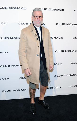 How to wear: camel overcoat, black blazer, white long sleeve shirt, charcoal shorts