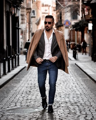 How to wear: camel overcoat, charcoal wool blazer, white long sleeve shirt, navy jeans