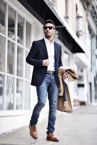 How to wear: camel overcoat, navy blazer, white long sleeve shirt, blue jeans