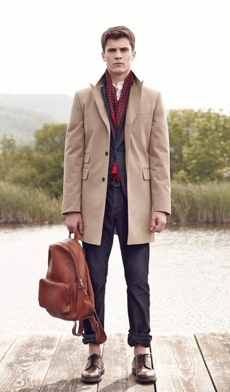 Pair a tan overcoat with charcoal chinos for your nine-to-five. Finish off this look with brown leather derby shoes.