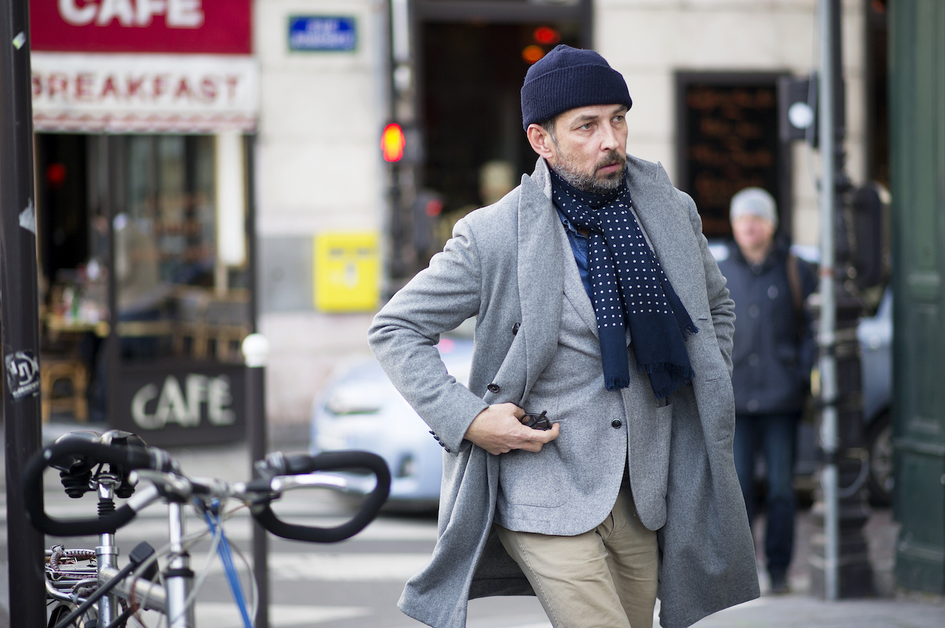 How To Wear a Grey Blazer With a Navy Beanie For Men (4 looks   outfits)  8e1bf2ee17a