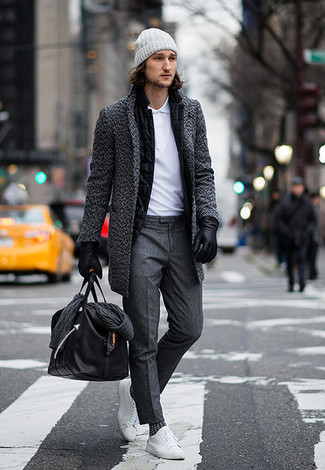 How to wear: charcoal overcoat, black wool blazer, white polo, charcoal dress pants