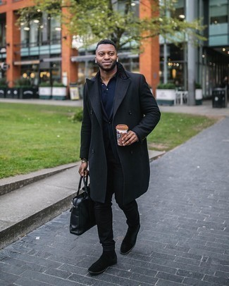 Black Jeans with Polo Outfits For Men: This relaxed combo of a polo and black jeans is a safe option when you need to look stylish but have no time to pick out an ensemble. Here's how to infuse an extra dose of style into this outfit: black suede chelsea boots.