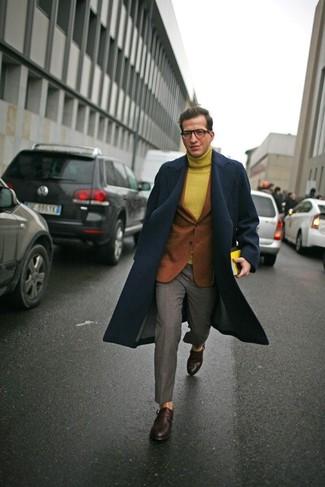 How to wear: navy overcoat, tobacco wool blazer, mustard wool turtleneck, grey dress pants
