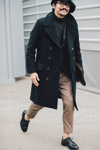 How to wear: black overcoat, charcoal herringbone wool blazer, charcoal turtleneck, brown wool dress pants