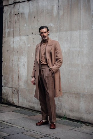 How to wear: camel overcoat, tan blazer, tan turtleneck, brown dress pants