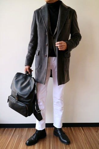 How to wear: black overcoat, charcoal plaid wool blazer, black turtleneck, white chinos