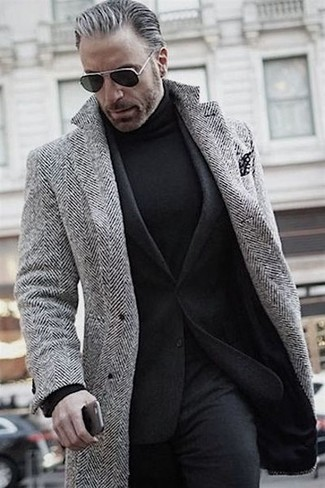 How to wear: grey herringbone overcoat, black wool blazer, black turtleneck, black wool dress pants