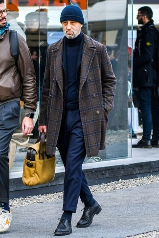 How to wear: dark brown check overcoat, black blazer, navy turtleneck, navy dress pants
