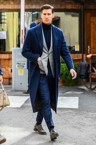 How to wear: navy overcoat, grey plaid blazer, navy turtleneck, navy dress pants
