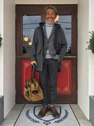 How to wear: grey overcoat, grey wool blazer, grey knit turtleneck, charcoal dress pants