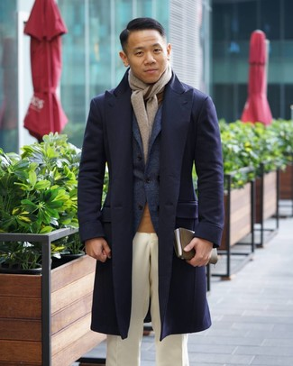 How to wear: navy overcoat, navy wool blazer, tan turtleneck, white dress pants