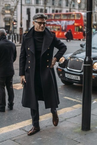 How to Wear a Black Turtleneck For Men: A black turtleneck and black dress pants are absolute essentials if you're piecing together a sophisticated wardrobe that matches up to the highest men's fashion standards. Dark brown leather chelsea boots look perfectly at home teamed with this look.
