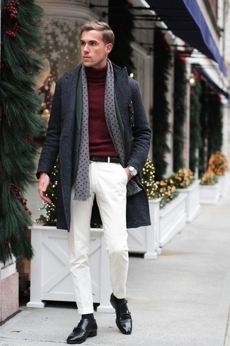 How to Wear a Dark Green Blazer For Men: This combo of a dark green blazer and white chinos looks polished, but in a cool kind of way. Why not introduce black leather double monks to the mix for some extra elegance?