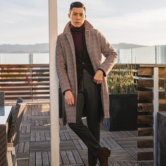 Burgundy Turtleneck Outfits For Men: A burgundy turtleneck and charcoal dress pants are absolute staples if you're planning a refined closet that holds to the highest sartorial standards. Finish off your outfit with dark brown suede casual boots to shake things up.