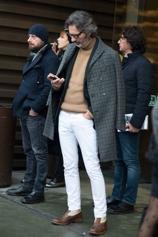 500+ Winter Outfits For Men: Consider wearing a grey gingham overcoat and white jeans for a clean sophisticated outfit. To give your overall getup a dressier vibe, complement your outfit with a pair of brown leather dress boots. A practical illustration of comfortable fashion, this look must be in your sartorial arsenal when winter weather settles in.
