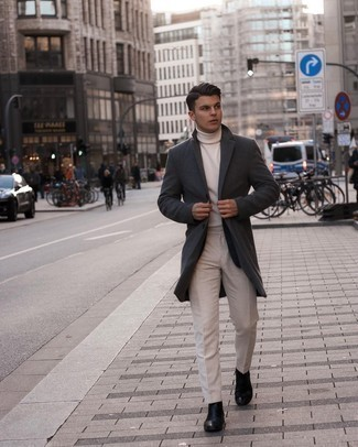 Overcoat Outfits: For a look that's nothing less than wow-worthy, try teaming an overcoat with beige dress pants. Does this getup feel too fancy? Let a pair of black leather chelsea boots spice things up.