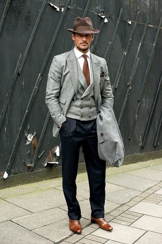 How to wear: grey overcoat, grey blazer, grey waistcoat, white dress shirt