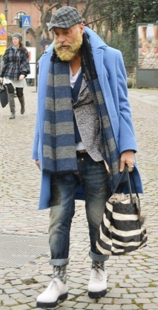 How to wear: light blue overcoat, grey wool blazer, navy wool waistcoat, white v-neck t-shirt