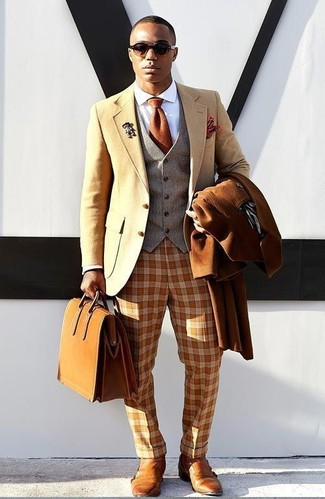 How to wear: tobacco overcoat, tan wool blazer, grey wool waistcoat, white dress shirt