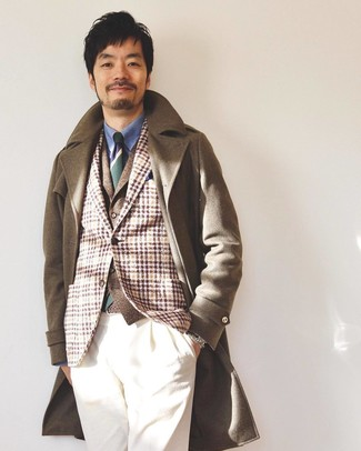 How to wear: brown overcoat, tan plaid wool blazer, brown wool waistcoat, blue dress shirt