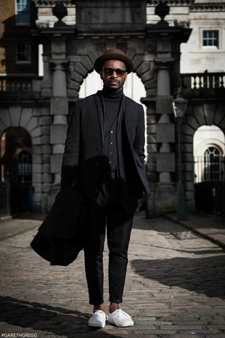 How to wear: black overcoat, black blazer, black waistcoat, black turtleneck