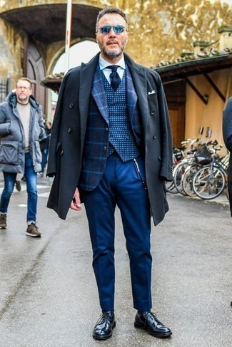 How to Wear a Navy Check Waistcoat: Putting together a navy check waistcoat with blue dress pants is an amazing pick for a dapper and refined ensemble. To bring out a more easy-going side of you, introduce a pair of black leather derby shoes to the equation.