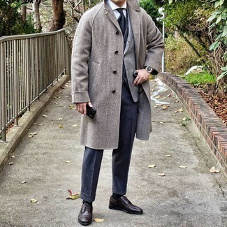 Grey Blazer with Navy Pants Outfits For Men: Make no doubt, you'll look extra stylish in a grey blazer and navy pants. Puzzled as to how to round off this ensemble? Wear a pair of dark brown leather derby shoes to dial it up a notch.