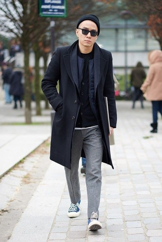 How to Wear a Navy Bomber Jacket For Men: This casual combo of a navy bomber jacket and grey wool chinos is a surefire option when you need to look stylish but have zero time. Introduce blue canvas low top sneakers to the equation to keep the outfit fresh.